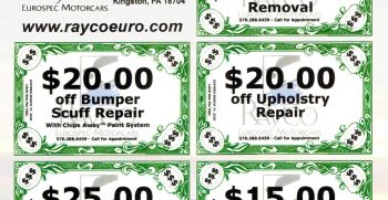 March 2020 Super-Saving Coupons from Rayco Eurospec Motorcars